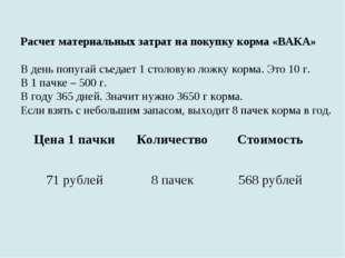 Расчет материальных затрат на покупку корма «ВАКА» В день попугай съедает 1 с