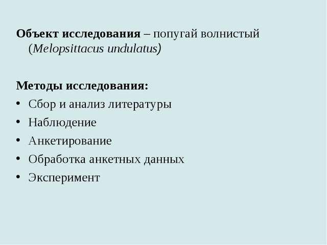 Объект исследования – попугай волнистый (Melopsittacus undulatus) Методы иссл...