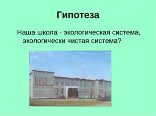 Гипотеза Наша школа - экологическая система, экологически чистая система?