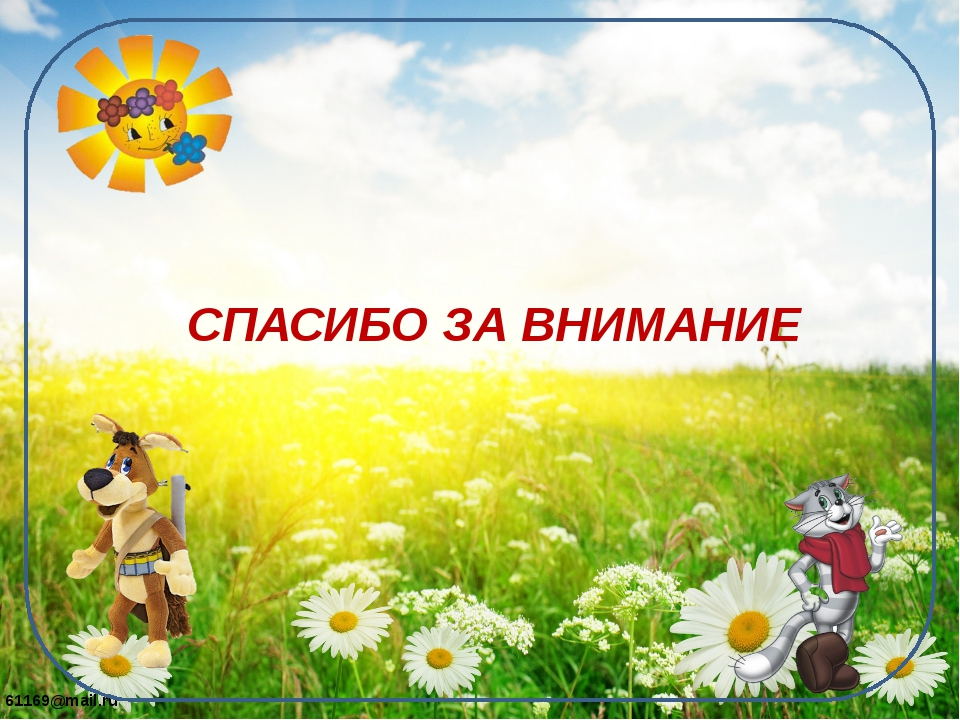 СПАСИБО ЗА ВНИМАНИЕ 61169@mail.ru
