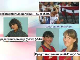 Шпотакова Барбора Представительница Чехии – 69 м 55см. Представительница (5-7