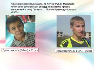 Армянский военнослужащий, 21-летний Рубен Микаелян побил свойсобственныйрек
