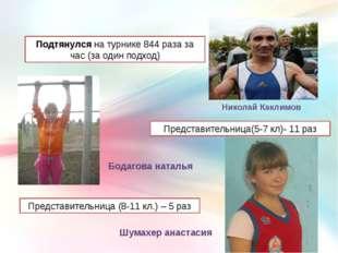 Подтянулсяна турнике 844 раза за час (за одинподход) Николай Каклимов Пред