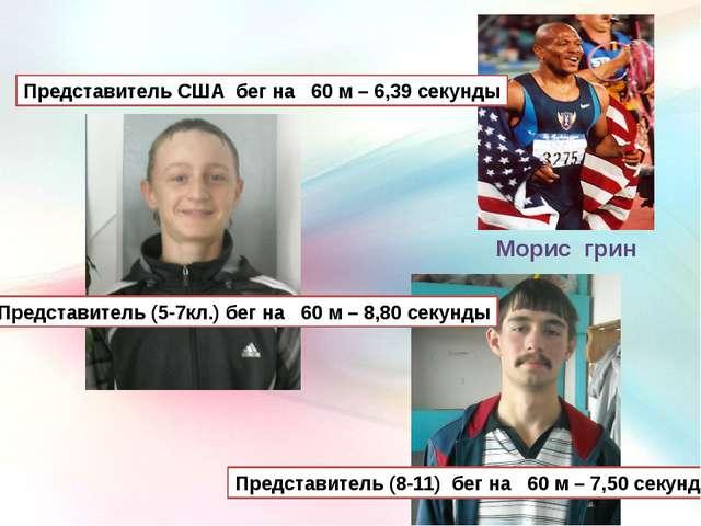 Морис грин Представитель США бег на 60 м – 6,39 секунды Представитель (5-7кл....