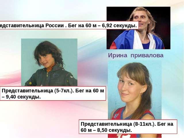 Ирина привалова Представительница России . Бег на 60 м – 6,92 секунды. Предст...