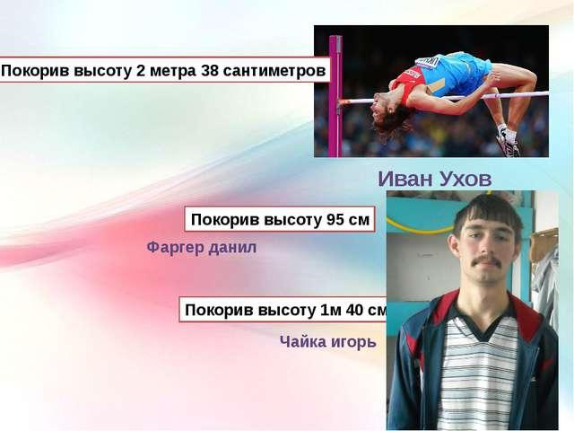 Иван Ухов Покорив высоту 2 метра 38 сантиметров Покорив высоту 95 см Покорив...