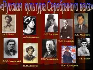 А.А. Блок К.С. Малевич А.А. Ахматова В.В. Маяковский С.В.Рахманинов Ф.И. Шал