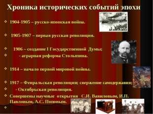 Хроника исторических событий эпохи 1904-1905 – русско-японская война. 1905-1