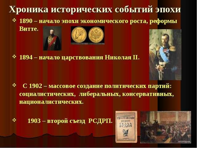 Хроника исторических событий эпохи 1890 – начало эпохи экономического роста,...