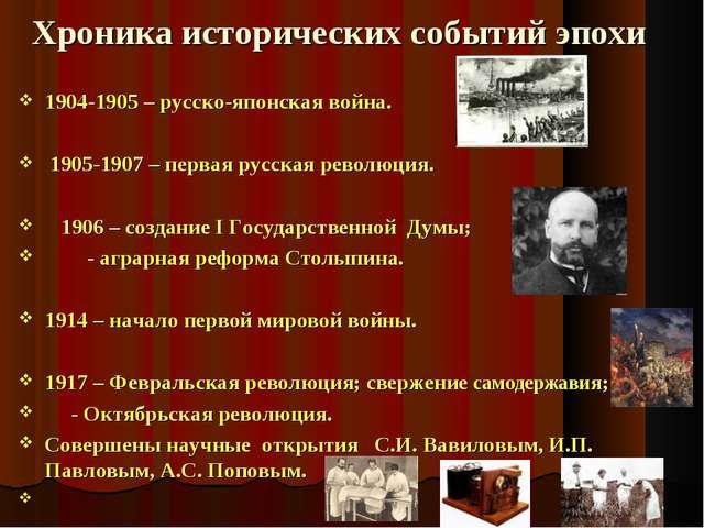 Хроника исторических событий эпохи 1904-1905 – русско-японская война. 1905-1...