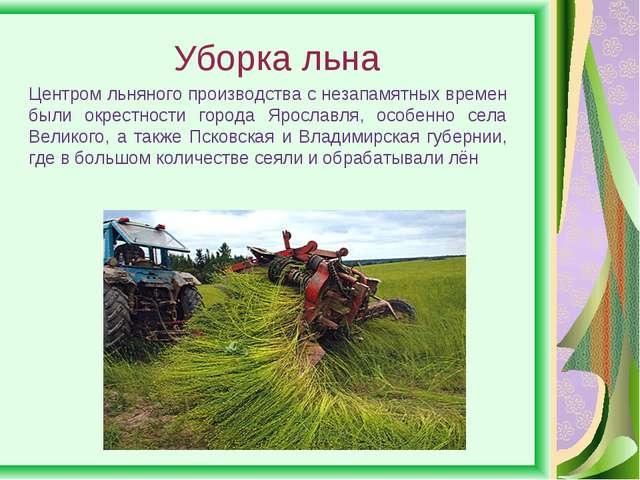 Уборка льна Центром льняного производства с незапамятных времен были окрестно...