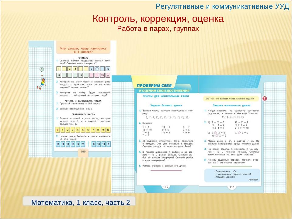 Контроль, коррекция, оценка Работа в парах, группах Регулятивные и коммуникат...