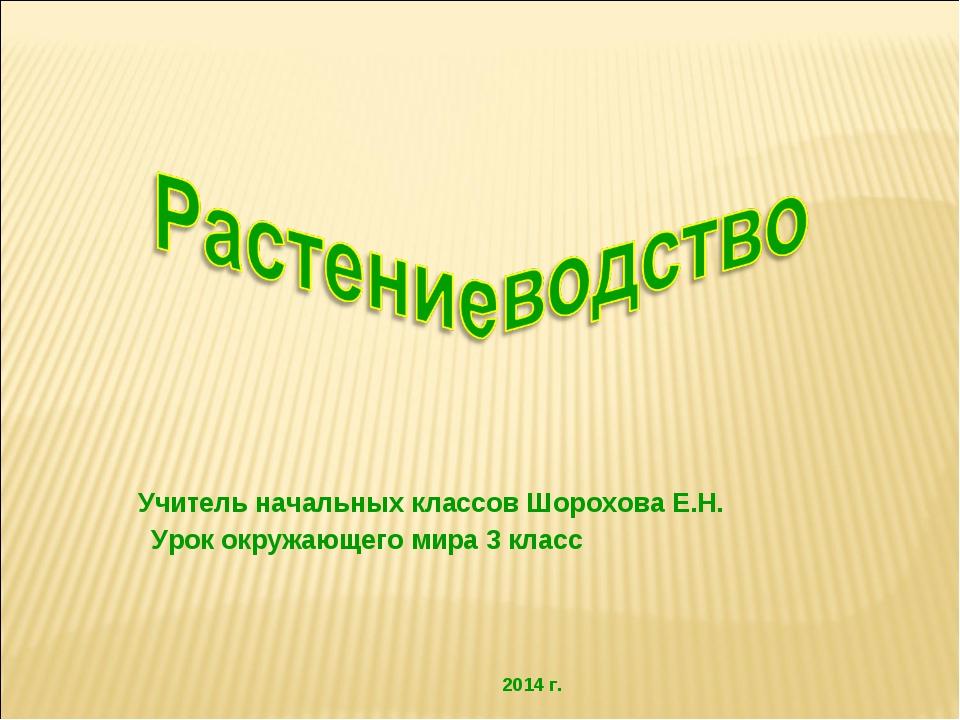 Учитель начальных классов Шорохова Е.Н. Урок окружающего мира 3 класс 2014 г.