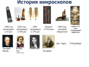 История микроскопов  1590 год увеличивал в 10 раз1625 год увеличивал в