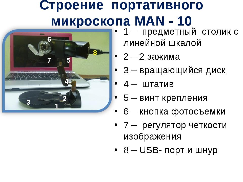 Строение портативного микроскопа MAN - 10 1 – предметный столик с линейной шк...