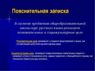 Пояснительная записка В системе предметов общеобразовательной школы курс рус