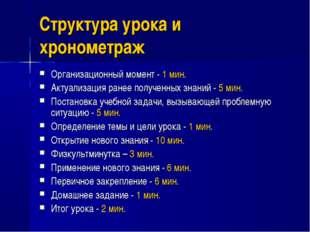 Структура урока и хронометраж Организационный момент - 1 мин. Актуализация ра