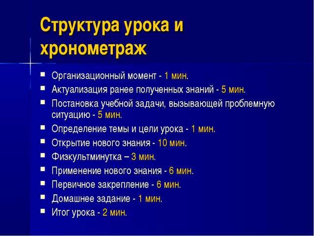 Структура урока и хронометраж Организационный момент - 1 мин. Актуализация ра...
