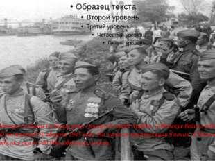 Советские солдаты на берегу реки Сунгари в городе Харбин. Советские войска