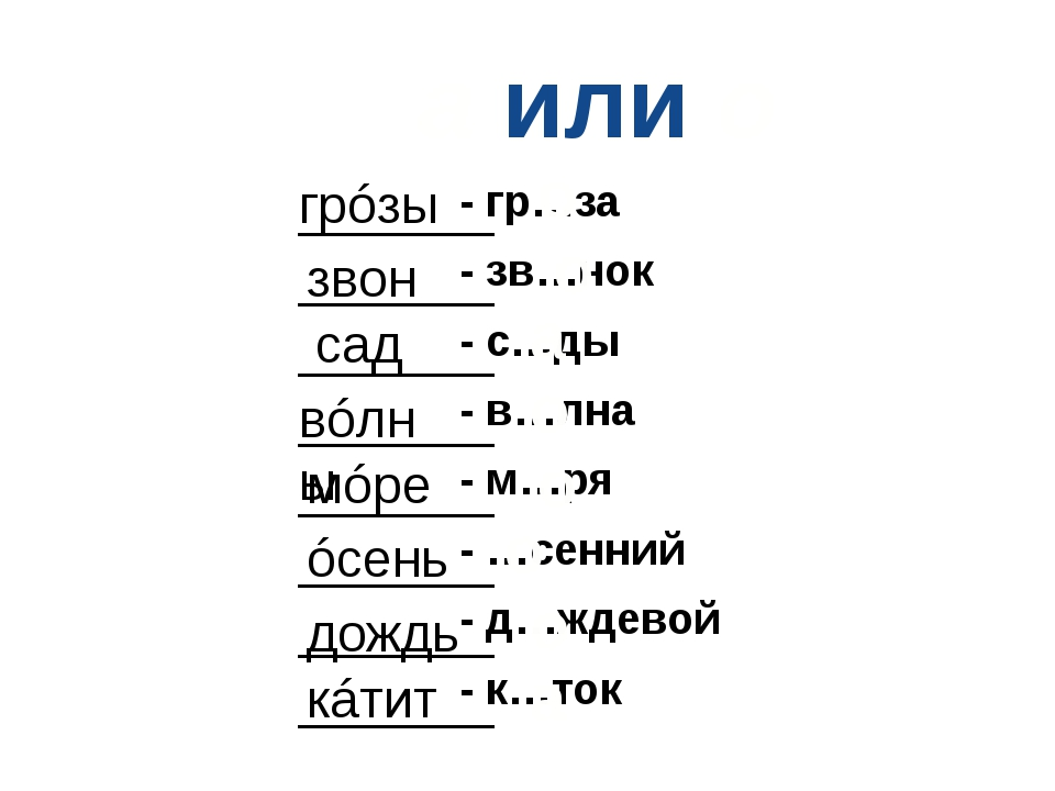 а или о - гр…за - зв…нок - с…ды - в…лна - м…ря - …сенний - д…ждевой - к…ток _...