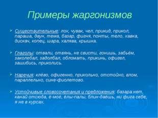 Примеры жаргонизмов Существительные: лох, чувак, чел, прикид, прикол, параша,