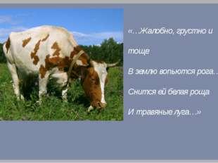 «…Жалобно, грустно и тоще В землю вопьются рога… Снится ей белая роща И травя