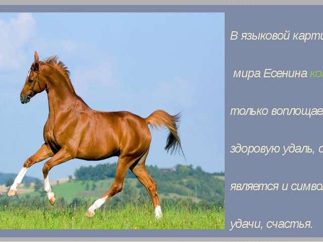 В языковой картине мира Есенина конь не только воплощает здоровую удаль, силу...