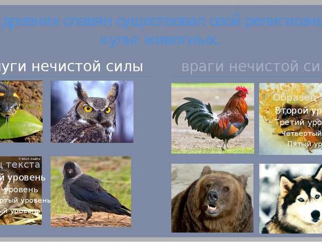 У древних славян существовал свой религиозный культ животных. слуги нечистой...