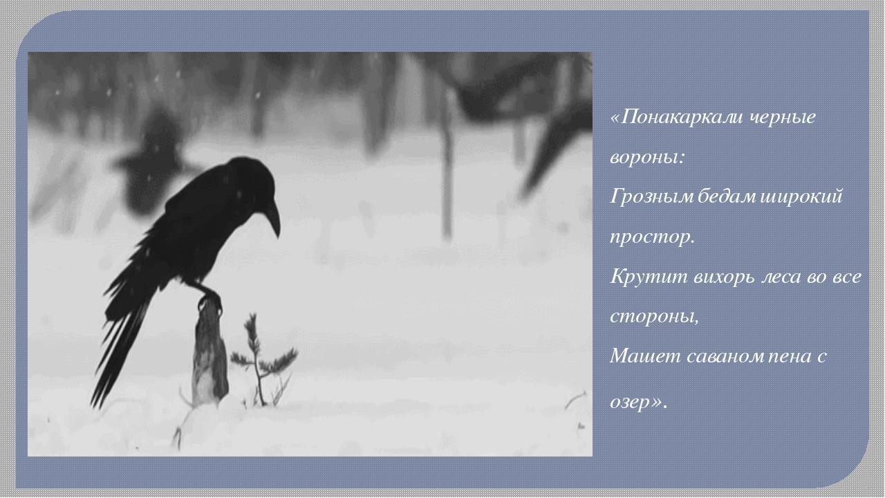 «Понакаркали черные вороны: Грозным бедам широкий простор. Крутит вихорь леса...