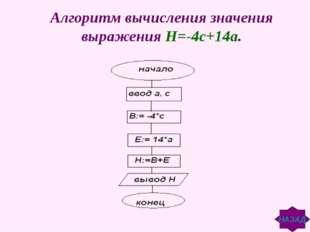Алгоритм вычисления значения выражения Н=-4с+14а. НАЗАД