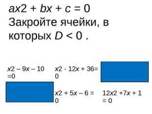 ax2 + bx + c = 0 Закройте ячейки, в которых D < 0 . x2– 9x– 10 =0 x2- 12x+ 36