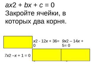 ax2 + bx + c = 0 Закройте ячейки, в которых два корня. x2– 9x– 10 =0 x2- 12x+