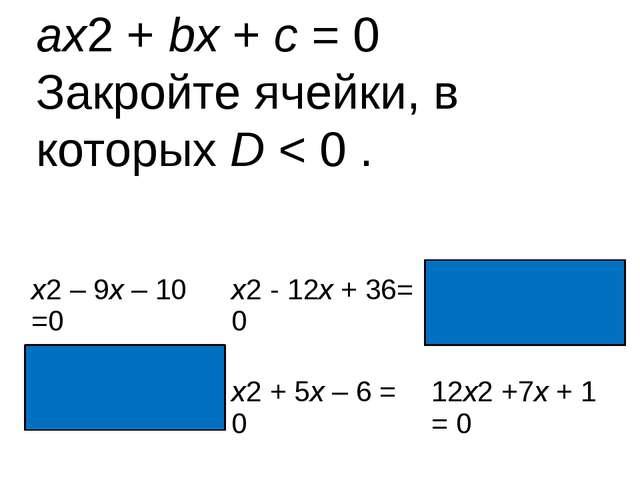 ax2 + bx + c = 0 Закройте ячейки, в которых D < 0 . x2– 9x– 10 =0 x2- 12x+ 36...