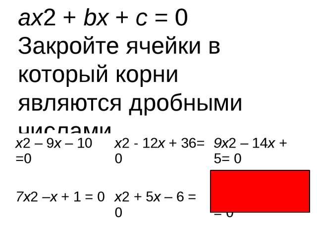 ax2 + bx + c = 0 Закройте ячейки в который корни являются дробными числами. x...