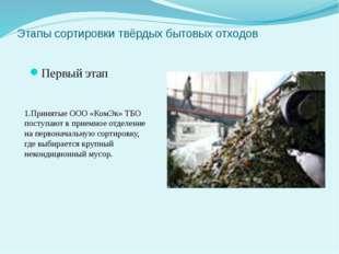 Этапы сортировки твёрдых бытовых отходов Первый этап 1.Принятые ООО «КомЭк» Т