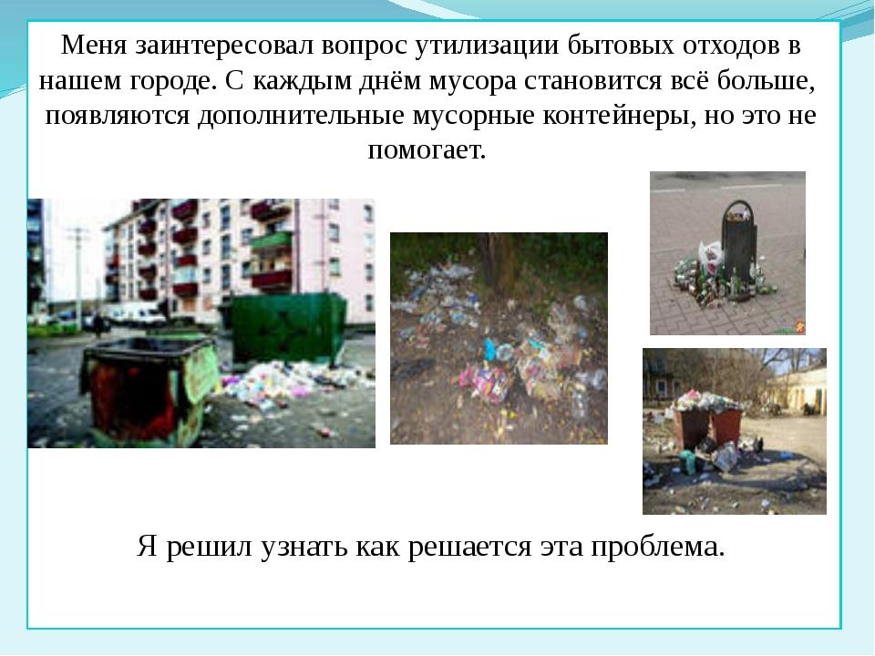 Меня заинтересовал вопрос утилизации бытовых отходов в нашем городе. С кажды...