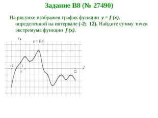 Задание B8 (№ 27490) На рисунке изображен график функции y = f (x), определен