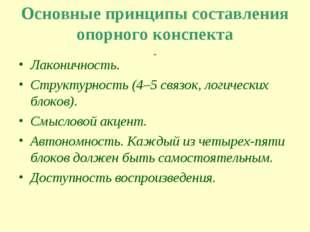 Основные принципы составления опорного конспекта Лаконичность. Структурность