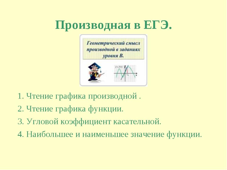 Производная в ЕГЭ. 1. Чтение графика производной . 2. Чтение графика функции....