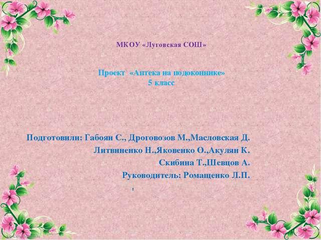 МКОУ «Луговская СОШ» Проект «Аптека на подоконнике» 5 класс Подготовили: Габо...