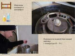 Жиромеры помещаем в центрифугу Нагреваем на водяной бане каждый жиромер ( тем
