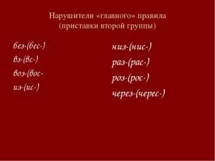 Нарушители «главного» правила (приставки второй группы) без-(бес-) вз-(вс-) в