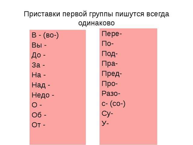 Приставки первой группы пишутся всегда одинаково В - (во-) Вы - До - За - На...