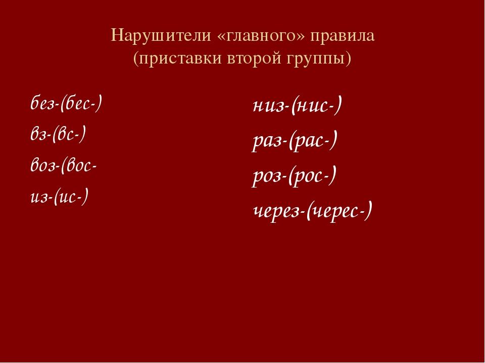Нарушители «главного» правила (приставки второй группы) без-(бес-) вз-(вс-) в...