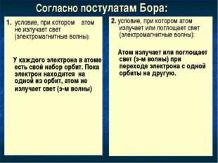 Согласно постулатам Бора: 1. условие, при котором атом не излучает свет (элек