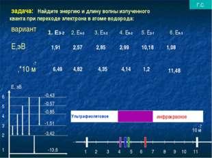 задача: Найдите энергию и длину волны излученного кванта при переходе электр