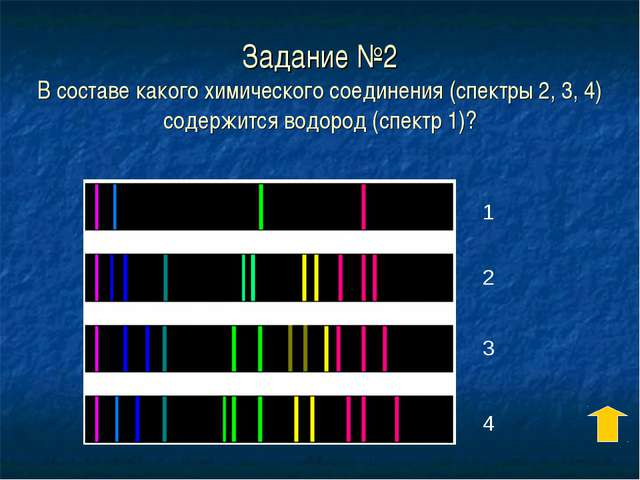 Задание №2 В составе какого химического соединения (спектры 2, 3, 4) содержит...