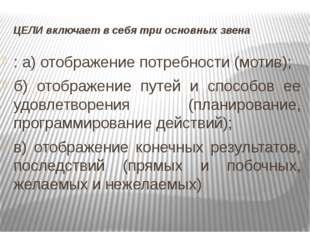 ЦЕЛИ включает в себя три основных звена : а) отображение потребности (мотив);
