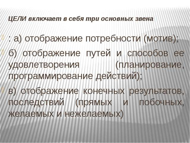 ЦЕЛИ включает в себя три основных звена : а) отображение потребности (мотив);...