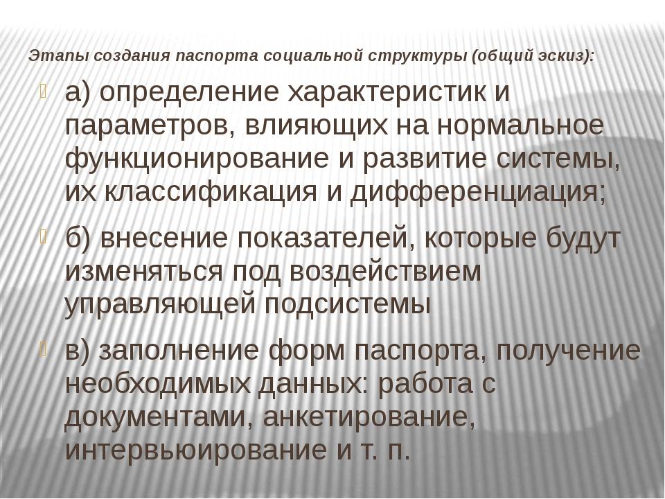 Этапы создания паспорта социальной структуры (общий эскиз): а) определение ха...